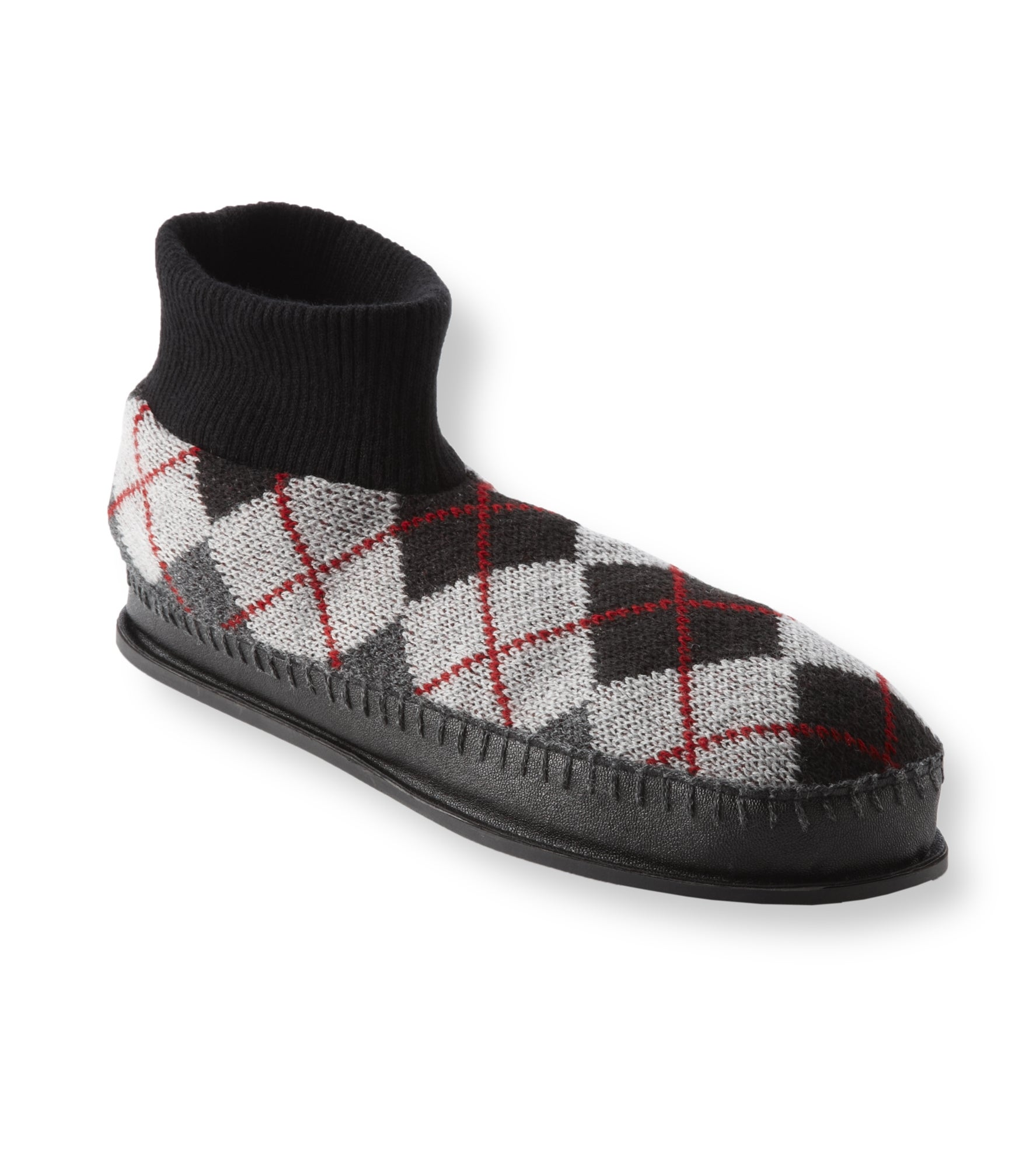 Muk Luks Men's 'Sheldon' Grey Argyle Knit Ankle Slippers