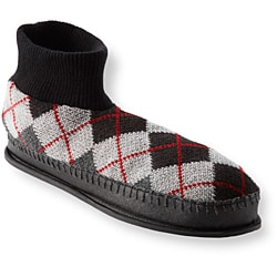 Muk Luks Men's 'Sheldon' Grey Argyle Knit Ankle Slippers - Thumbnail 1