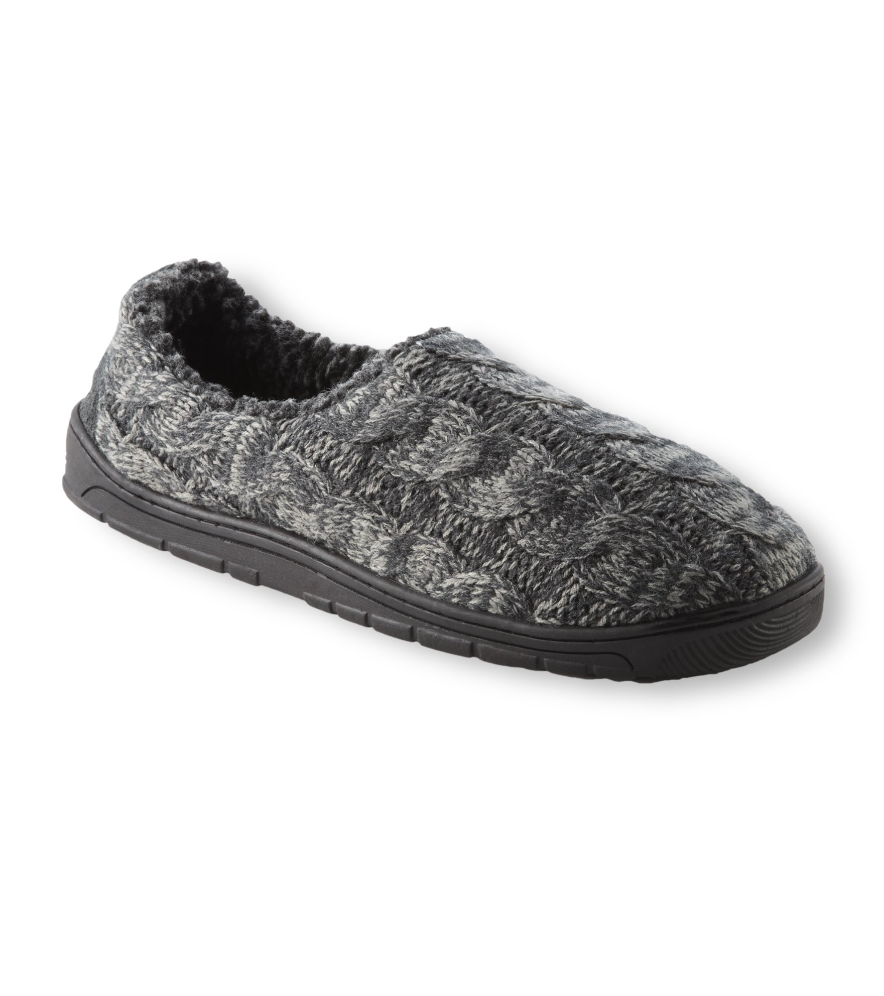 Muk Luks Men's 'Neal' Charcoal Cable Knit Foot Slippers