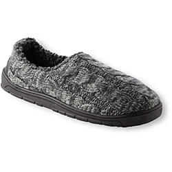 Muk Luks Men's 'Neal' Charcoal Cable Knit Foot Slippers - Thumbnail 1