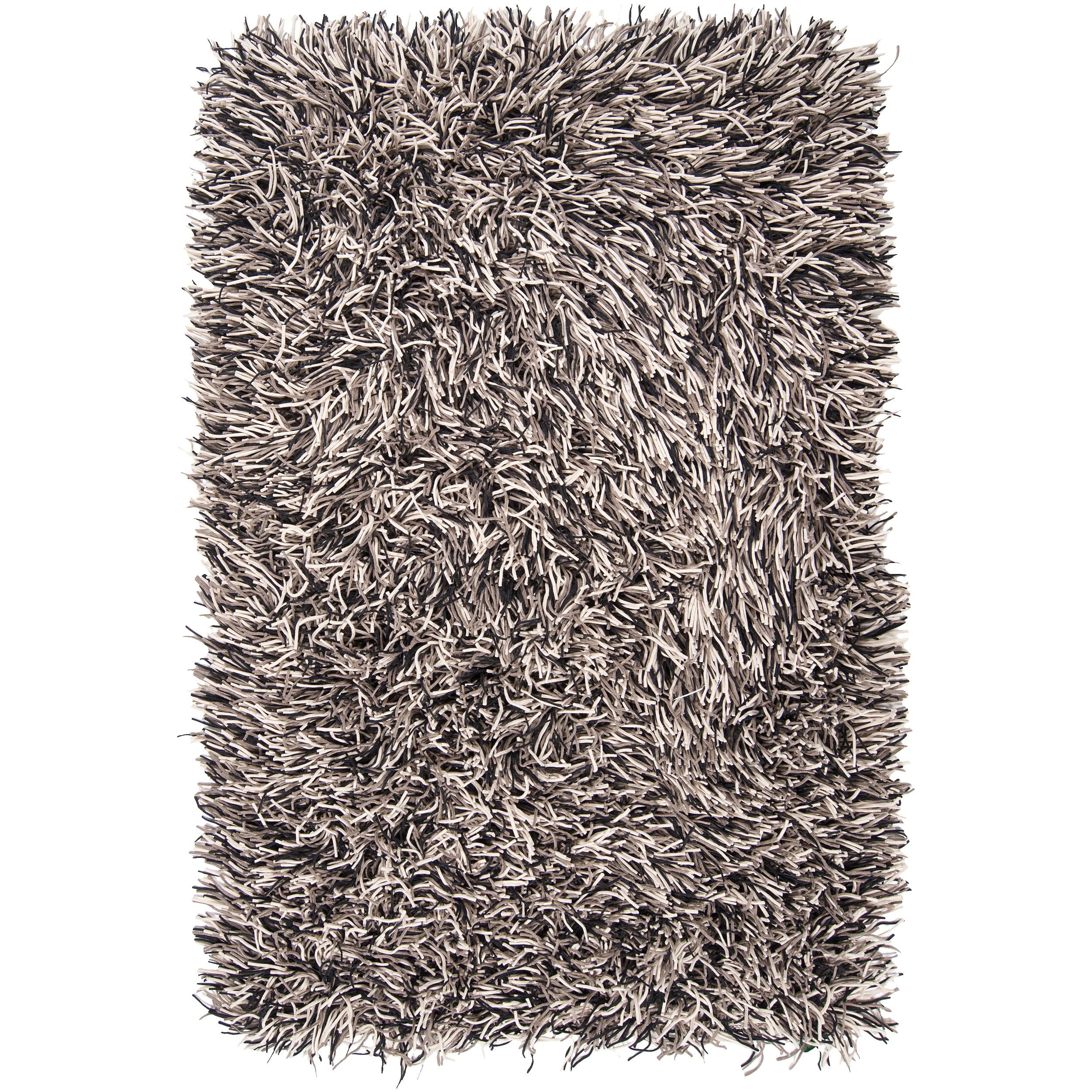 Hand-woven Black Caco New Zealand Felted Wool Plush Shag Rug (5' x 8')