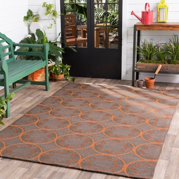 Hand-hooked Orange Mackay Indoor/Outdoor Moroccan Trellis Area Rug - 8' x 10'