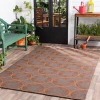 Hand-hooked Orange Mackay Indoor/Outdoor Moroccan Trellis Area Rug - 8' x 10'