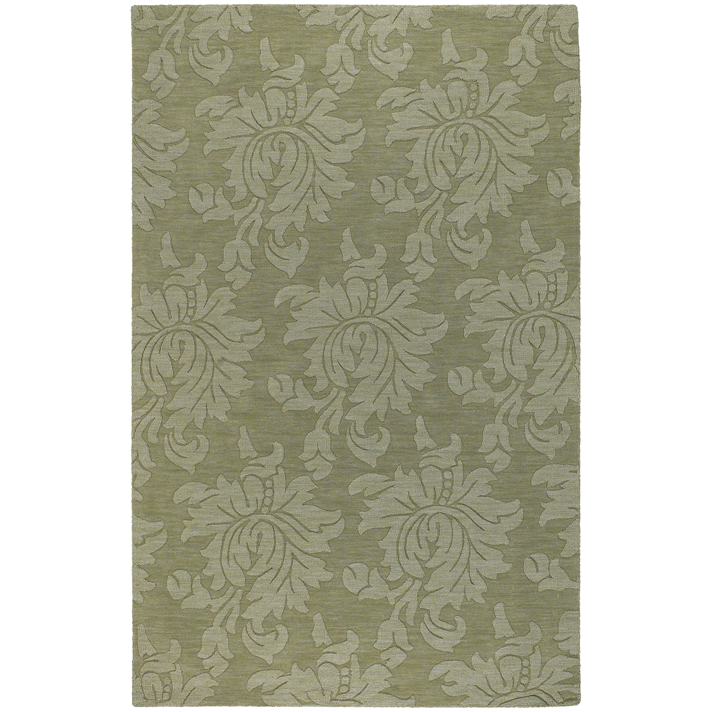 Hand-crafted Solid Green Damask Chero Wool Area Rug (3'3 x 5'3)