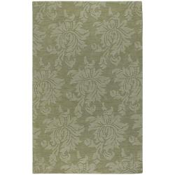 Hand-crafted Solid Green Damask Chero Wool Rug (3'3 x 5'3)