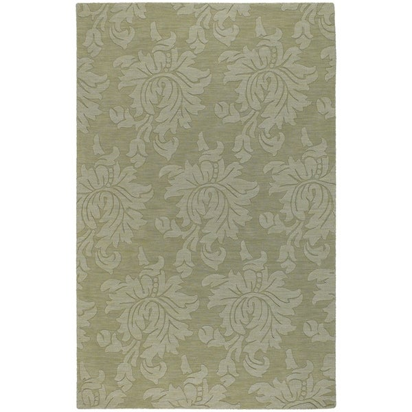 """Hand-crafted Solid Green Damask Chero Wool Area Rug - 3'3"""" x 5'3"""""""