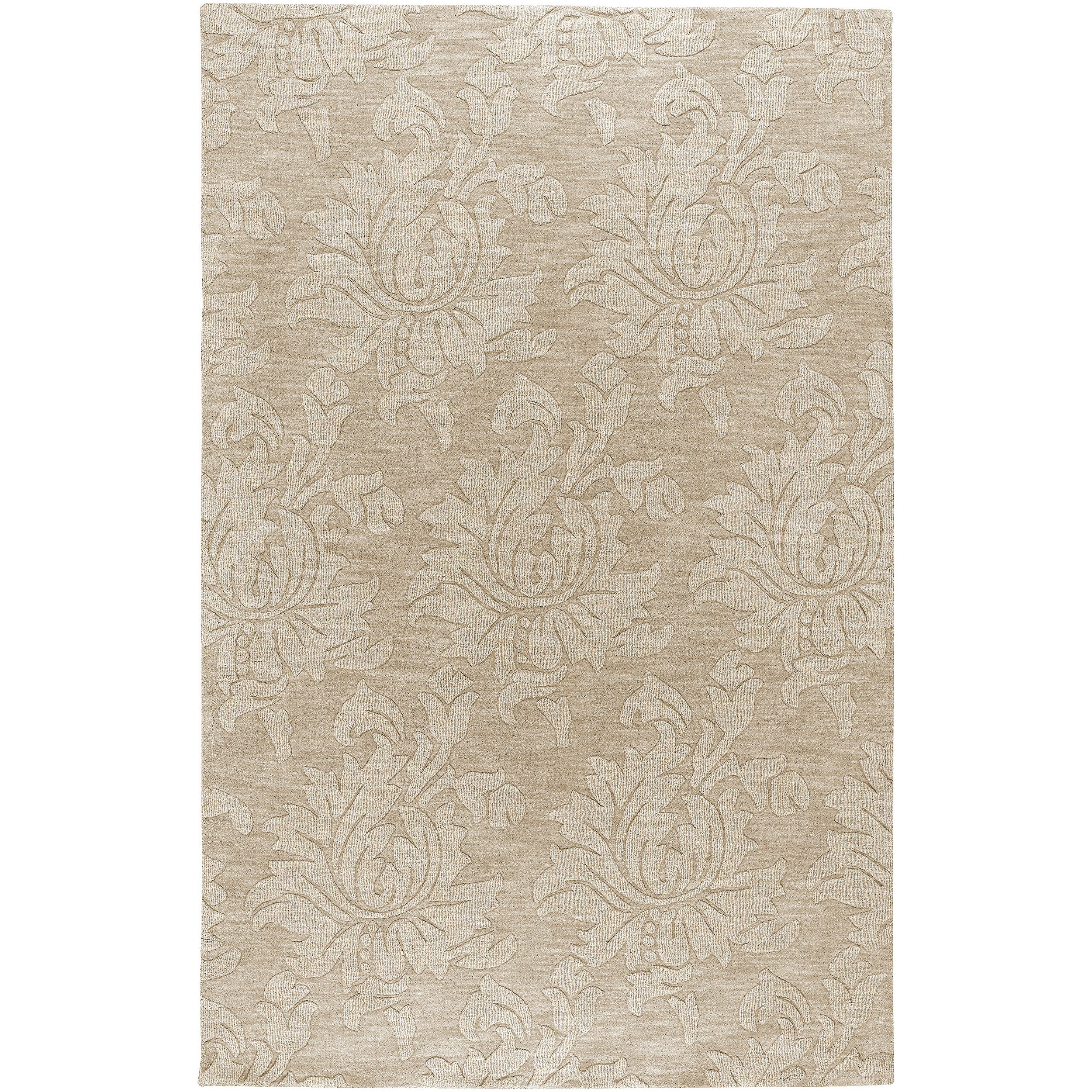 "Hand-crafted Solid Ivory Damask Chiro Wool Area Rug - 3'3"" x 5'3"""