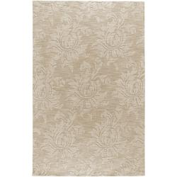 Hand-crafted Solid Ivory Damask Chiro Wool Rug (3'3 x 5'3)
