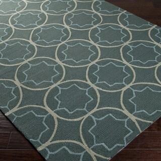 Hand-hooked Gray Petitot Indoor/Outdoor Moroccan Trellis Rug (5' x 8')