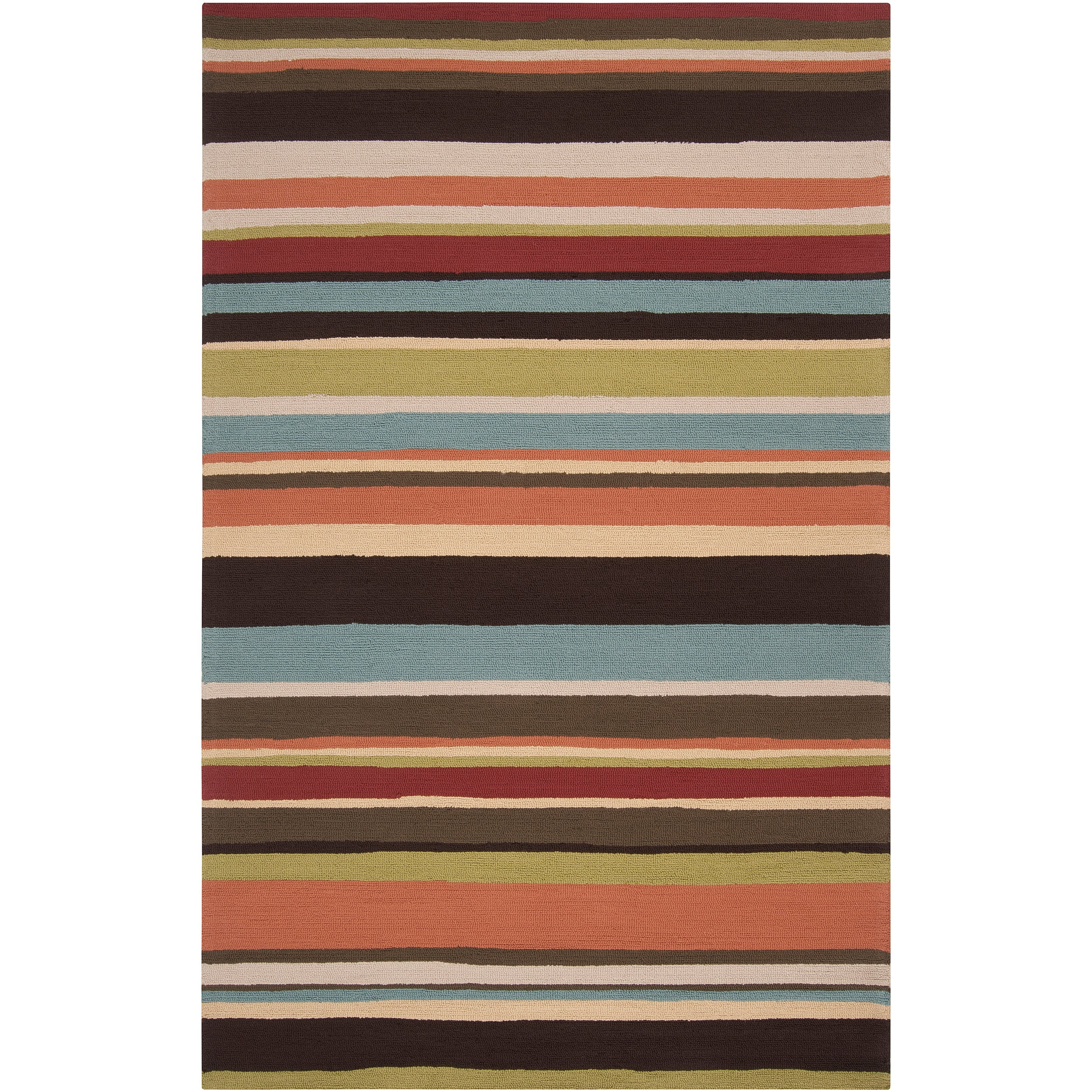 Hand-hooked Red Maren Indoor/Outdoor Stripe Area Rug (8' x 10')