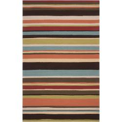 Hand-hooked Red Maren Indoor/Outdoor Stripe Area Rug (8' x 10') - Thumbnail 0
