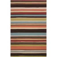 Hand-hooked Red Maren Indoor/Outdoor Stripe Area Rug (8' x 10')