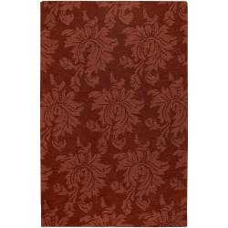 Hand-crafted Solid Red Damask Chrometo Wool Area Rug (3'3 x 5'3) - Thumbnail 0