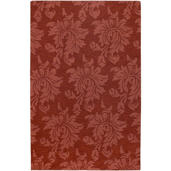 Hand-crafted Solid Red Damask Chrometo Wool Area Rug - 3'3 x 5'3
