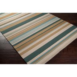 Hand-hooked Blue Caribou Indoor/Outdoor Stripe Rug (9' x 12') - Thumbnail 1