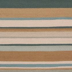 Hand-hooked Blue Caribou Indoor/Outdoor Stripe Rug (9' x 12') - Thumbnail 2