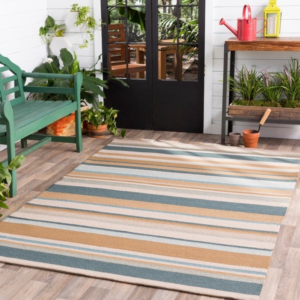 Hand-hooked Blue Caribou Indoor/Outdoor Stripe Area Rug - 9' x 12'