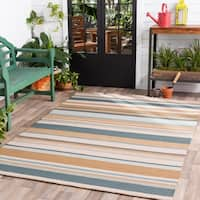 Hand-hooked Blue Caribou Indoor/Outdoor Stripe Area Rug - 8' x 10'