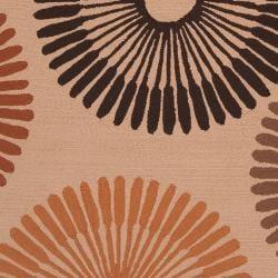 Hand-hooked Brown Wapiti Indoor/Outdoor Geometric Rug (9' x 12')