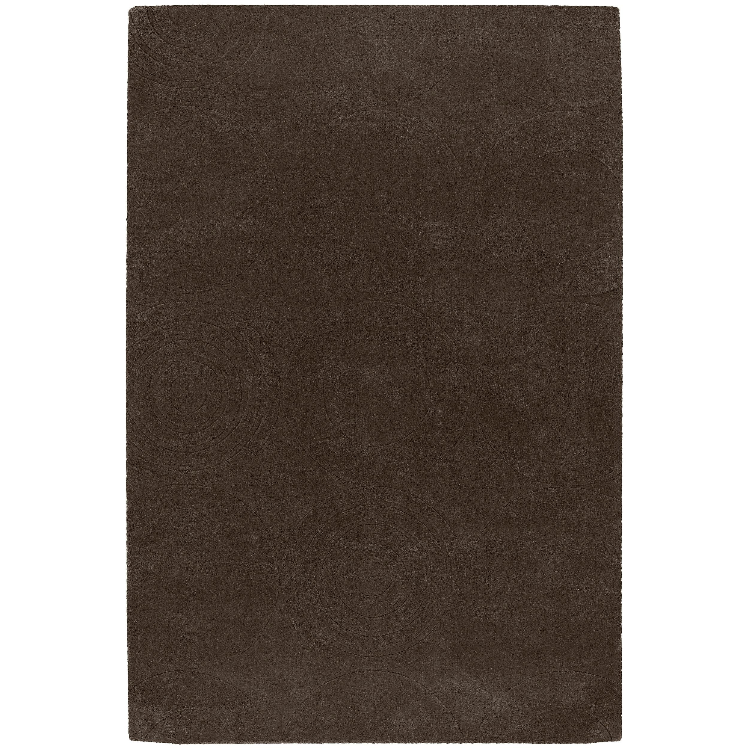 Hand-crafted Brown Geometric Clino Wool Rug (5' x 8')