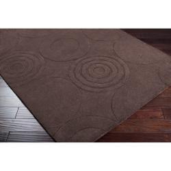 Hand-crafted Brown Geometric Clino Wool Rug (5' x 8') - Thumbnail 1