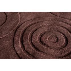 Hand-crafted Brown Geometric Clino Wool Rug (5' x 8') - Thumbnail 2