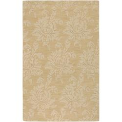 Hand-crafted Solid Beige Damask Contrel Wool Rug (3'3 x 5'3)