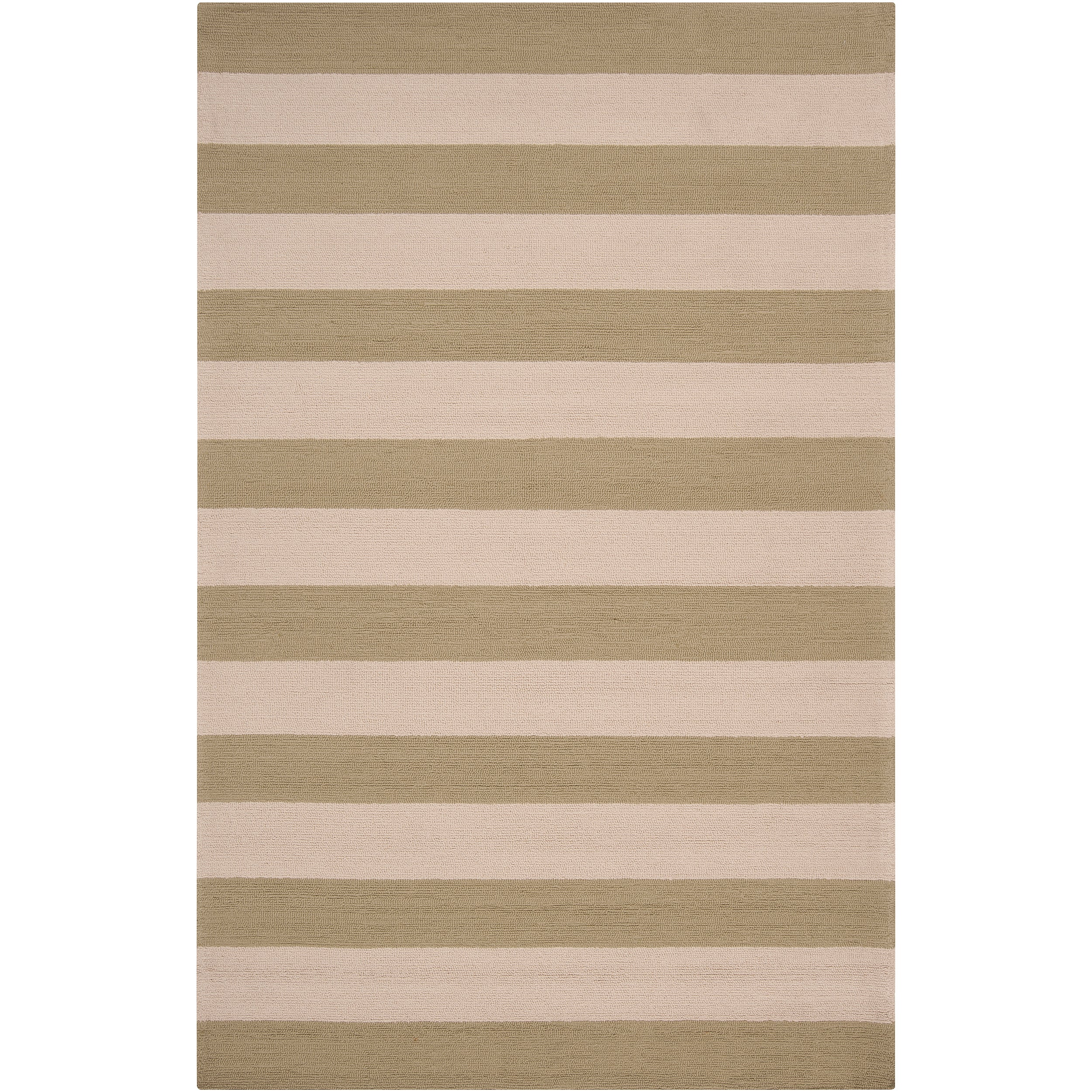 Hand hooked Green Pembina Indoor Outdoor Stripe Rug 9 x
