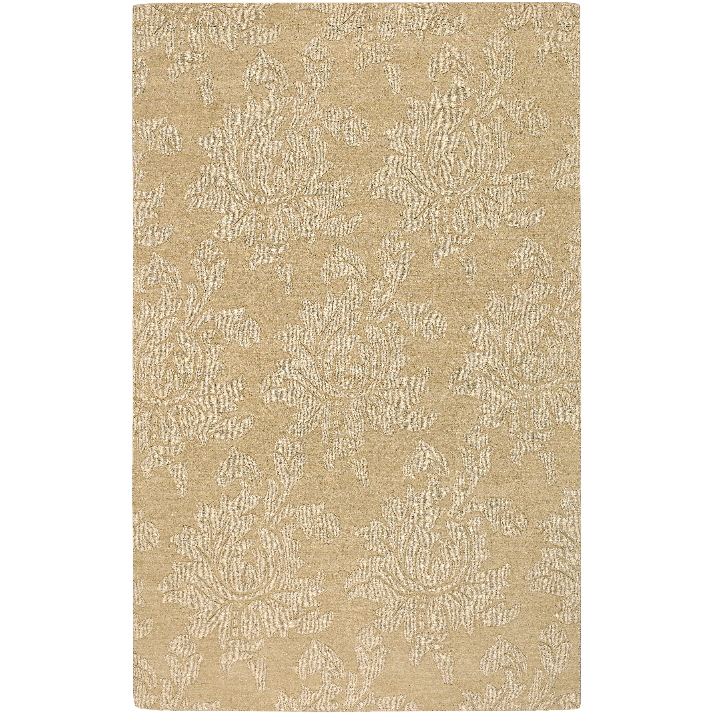Hand-crafted Solid Beige Damask Contrel Wool Area Rug - 8' x 11'