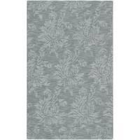 Hand-crafted Solid Blue Grey Damask Coprasta Wool Area Rug (8' x 11')