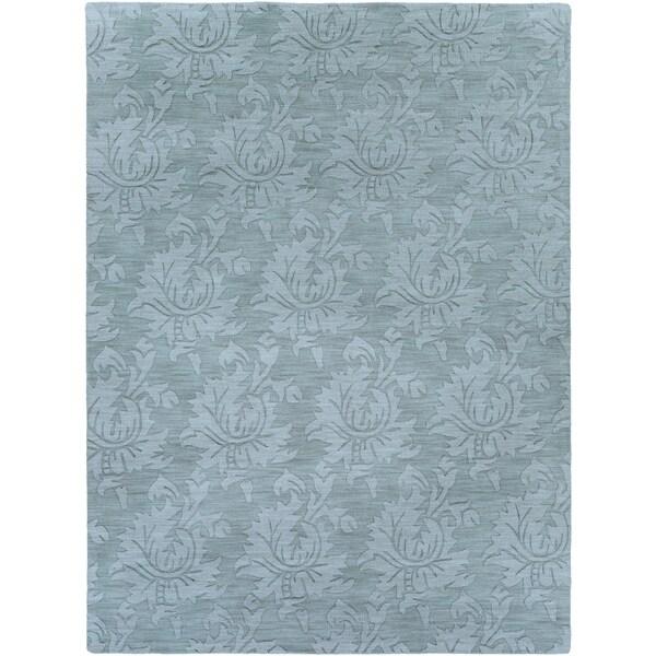 Hand-crafted Solid Blue Grey Damask Coprasta Wool Area Rug - 8' x 11'
