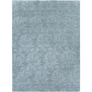 Hand-crafted Solid Blue Grey Damask Coprasta Wool Area Rug - 8' x 11'/Surplus