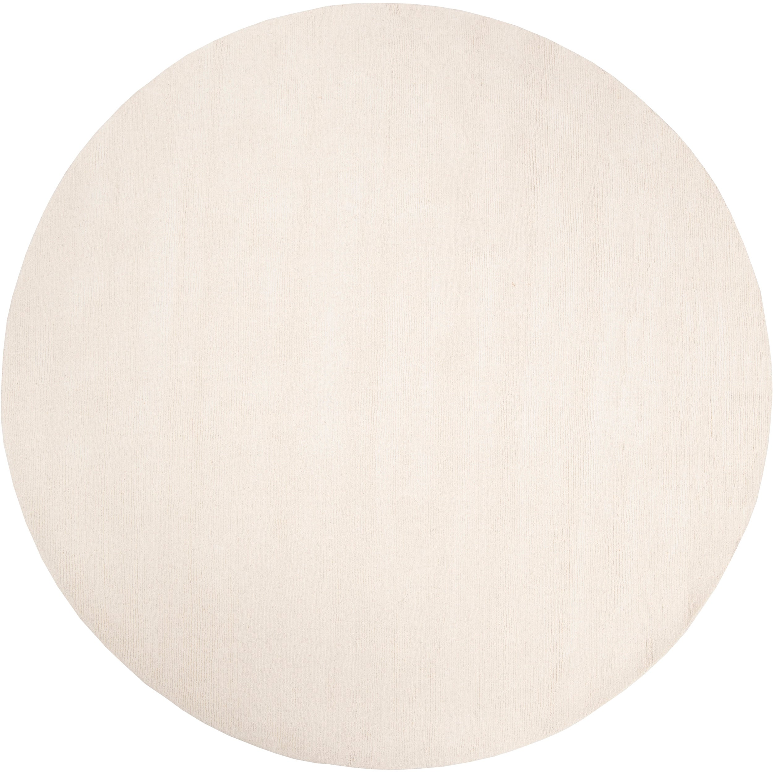 Hand Crafted Solid White Casual Climaco Wool Rug 6 Round