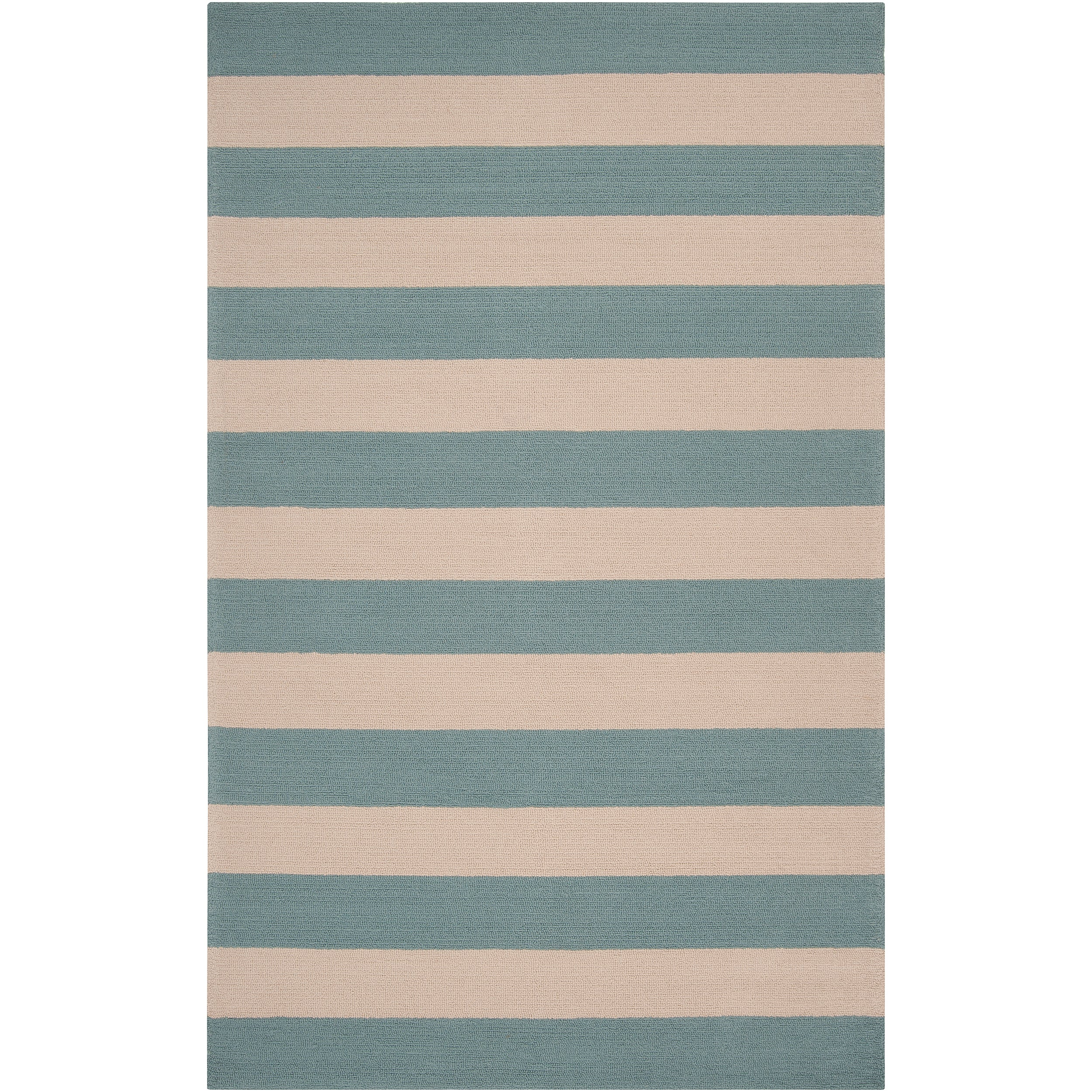 Hand hooked Blue Maligne Indoor Outdoor Stripe Rug 9 x
