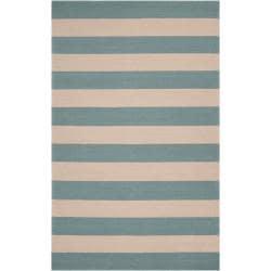 Hand-hooked Blue Maligne Indoor/Outdoor Stripe Rug (9' x 12')
