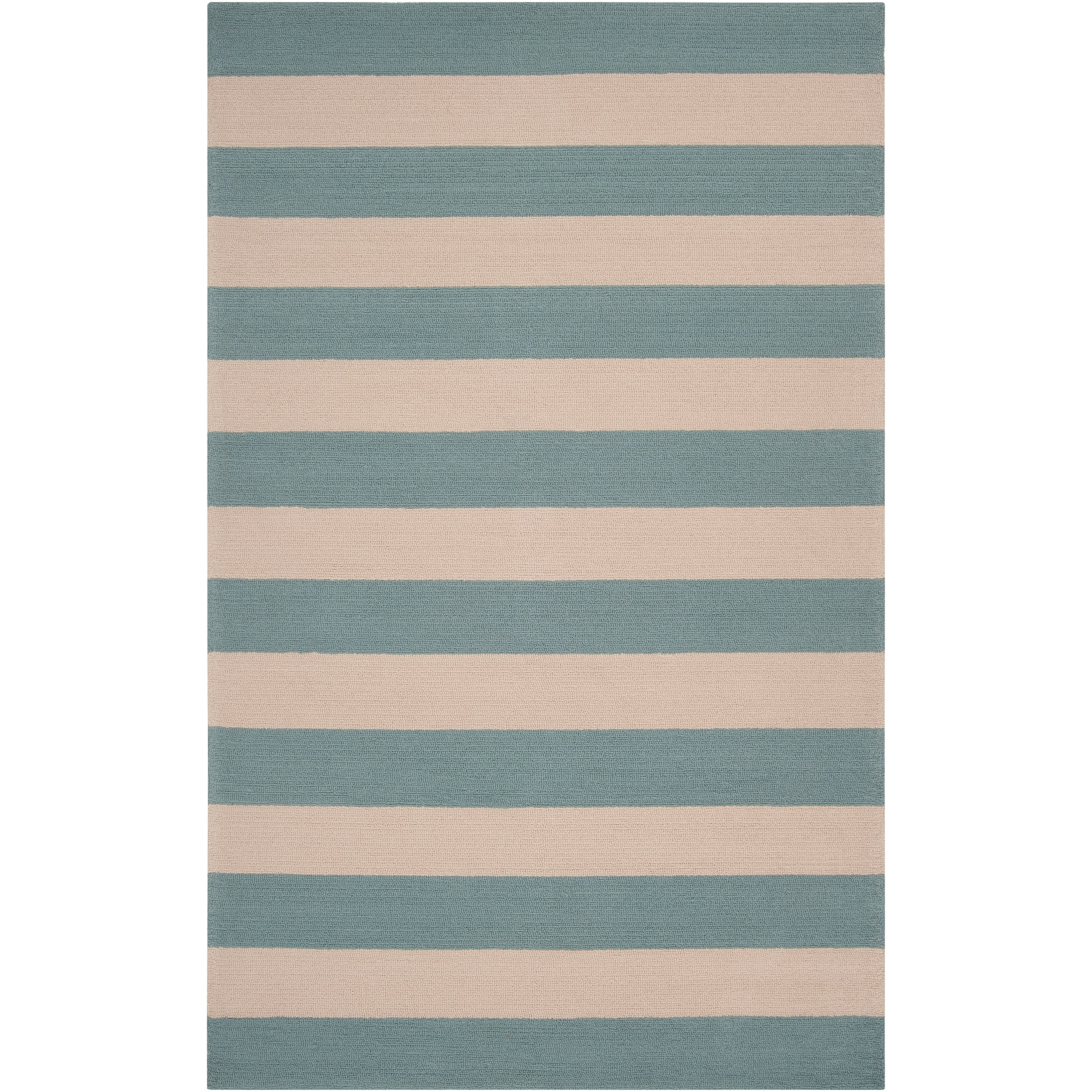 Hand-hooked Blue Maligne Indoor/Outdoor Stripe Rug (8' x 10') - Thumbnail 0
