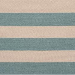 Hand-hooked Blue Maligne Indoor/Outdoor Stripe Rug (8' x 10') - Thumbnail 2
