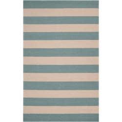 Hand-hooked Blue Maligne Indoor/Outdoor Stripe Area Rug (8' x 10') - Thumbnail 0