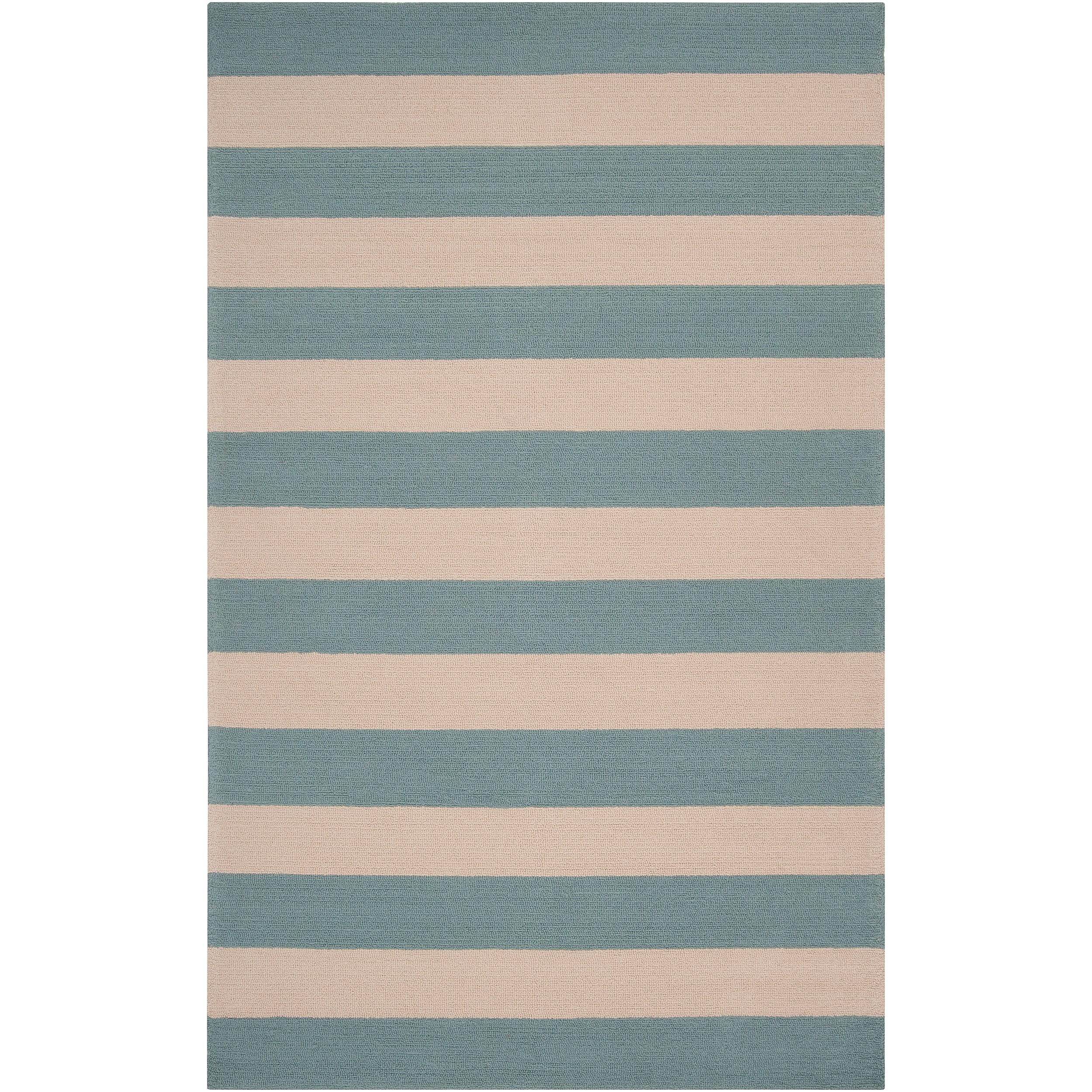 Hand-hooked Blue Maligne Indoor/Outdoor Stripe Rug (5' x 8')