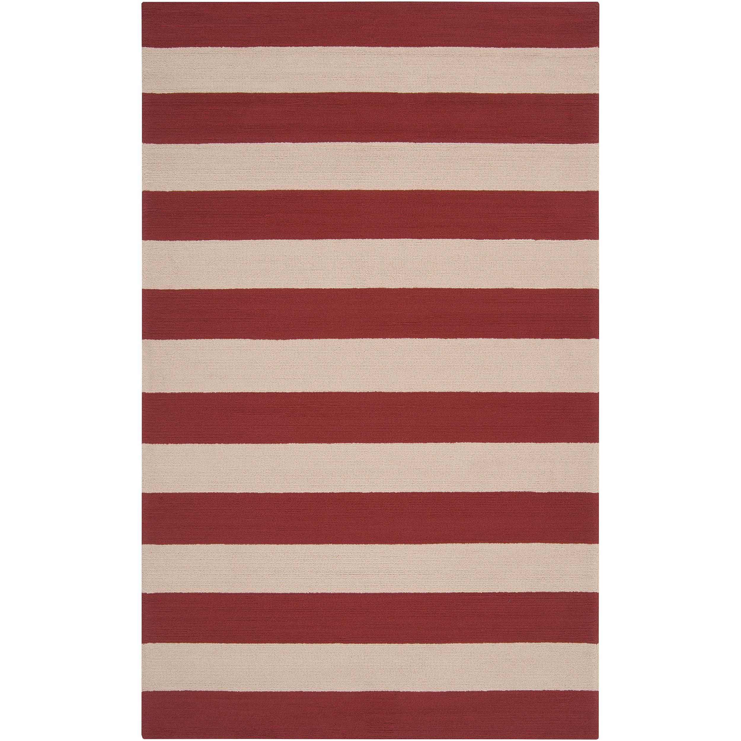 Hand-hooked Red Miette Indoor/Outdoor Stripe Area Rug - 9' x 12'