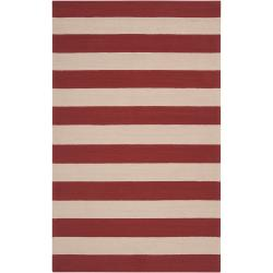 Hand-hooked Red Miette Indoor/Outdoor Stripe Rug (9' x 12')