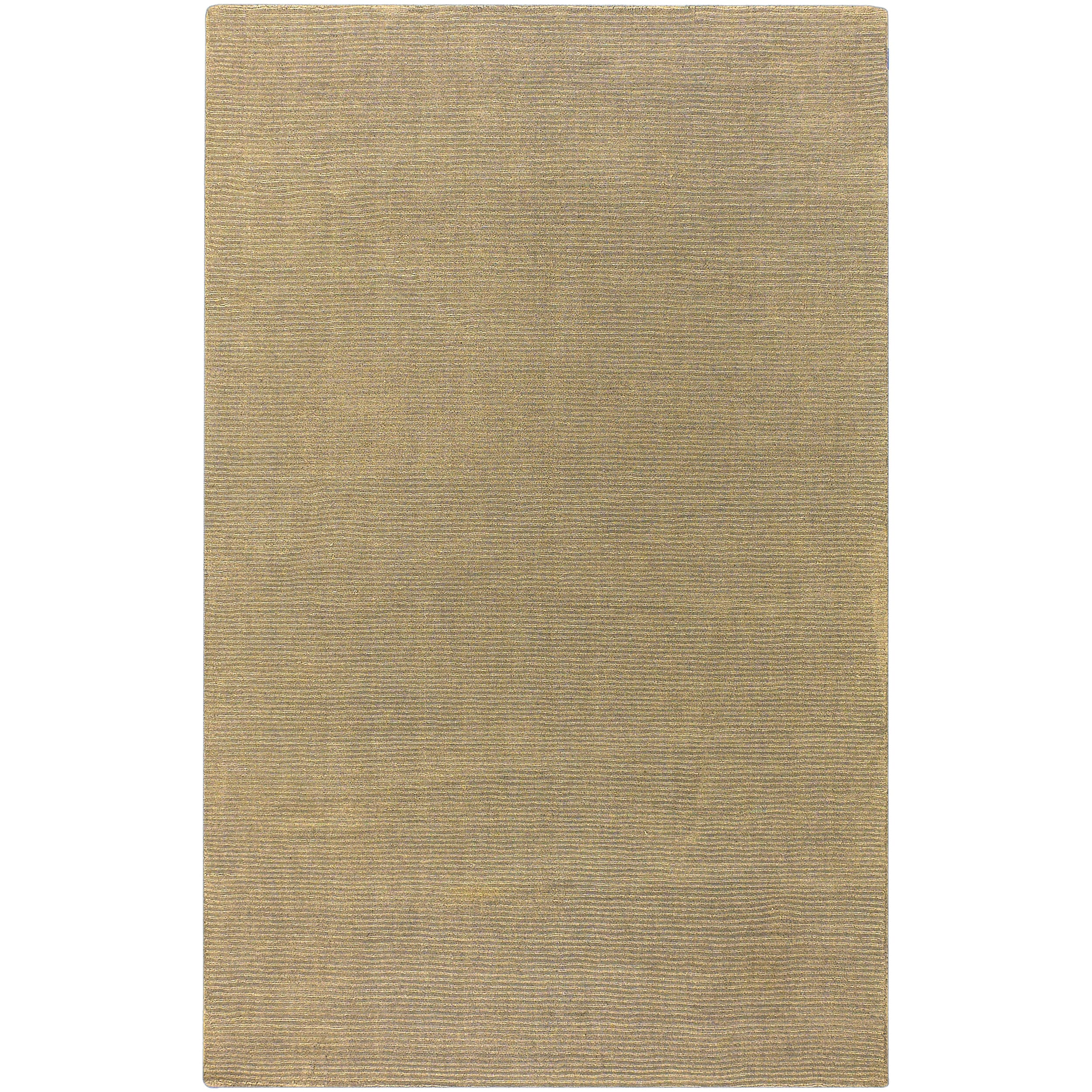 Hand-crafted Solid Pale Gold Casual Cnido Wool Rug (8' x 11')