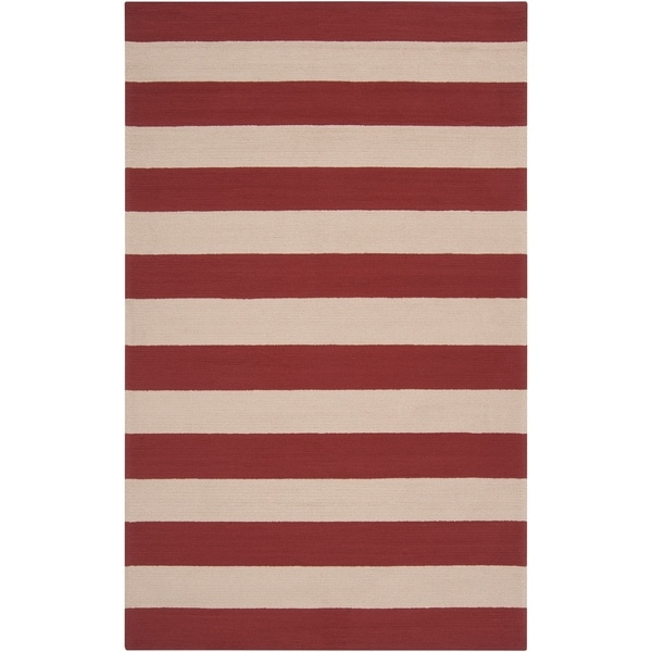 Hand-hooked Red Miette Indoor/Outdoor Stripe Area Rug - 8' x 10'