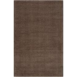 Hand-crafted Solid Brown Casual Copro Wool Rug (12' x 15')