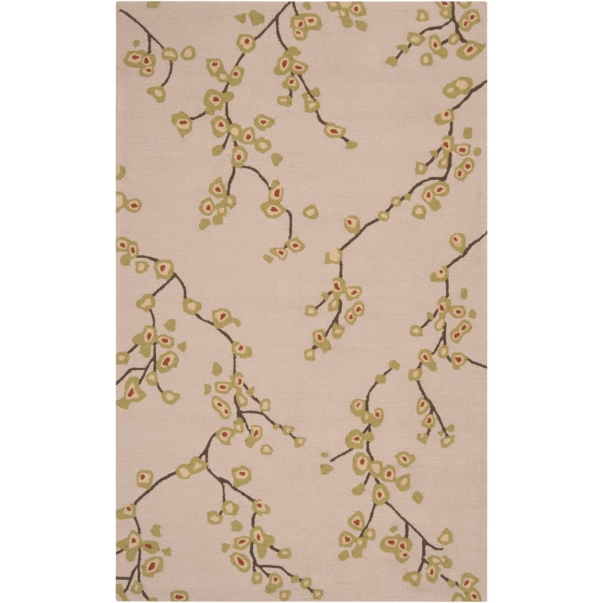 Hand-hooked Tan Astoria Indoor/Outdoor Floral Rug (9' x 12')