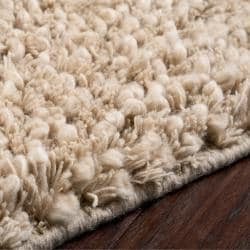 Hand-woven Beige Hamart New Zealand Wool Plush Shag Rug (3'6 x 5'6) - Thumbnail 1