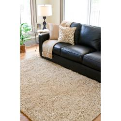 Hand-woven Beige Hamart New Zealand Wool Plush Shag Rug (3'6 x 5'6) - Thumbnail 2