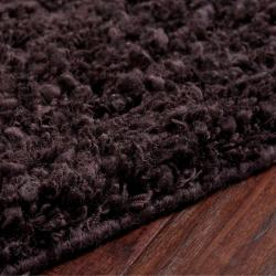 Hand-woven Metropoli Black New Zealand Wool Plush Shag Rug (5'x 8') - Thumbnail 1