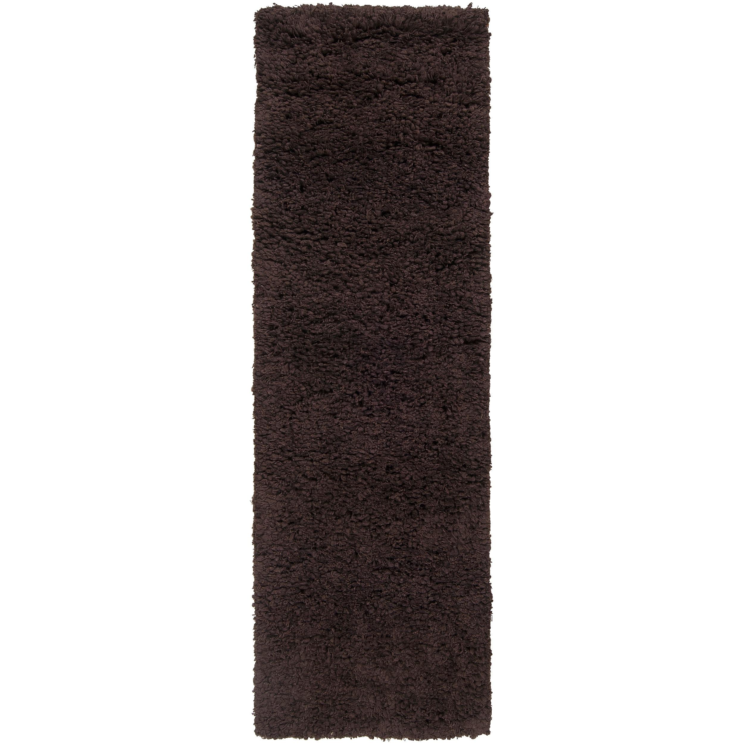 Hand-woven Metropoli Black New Zealand Wool Plush Shag Area Rug - 2'6 x 8'