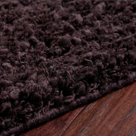 "Hand-woven Metropoli Brown New Zealand Wool Plush Shag Area Rug - 2'6"" x 8' Runner"